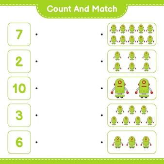 Conta e abbina, conta il numero di robot character e abbina con i numeri giusti. gioco educativo per bambini, foglio di lavoro stampabile, illustrazione vettoriale