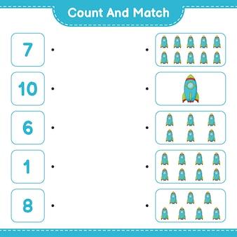 Conta e abbina, conta il numero di rocket e abbina i numeri giusti. gioco educativo per bambini, foglio di lavoro stampabile, illustrazione vettoriale