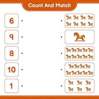 Conta e abbina, conta il numero di cavallo a dondolo e abbina con i numeri giusti. gioco educativo per bambini, foglio di lavoro stampabile, illustrazione vettoriale