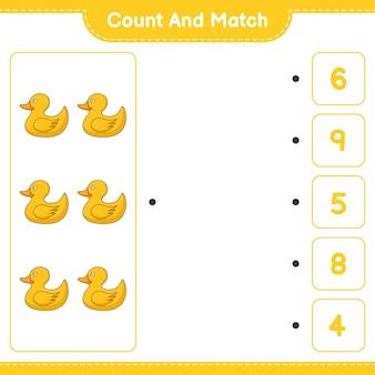 Conta e abbina, conta il numero di rubber duck e abbina i numeri giusti. gioco educativo per bambini, foglio di lavoro stampabile, illustrazione vettoriale