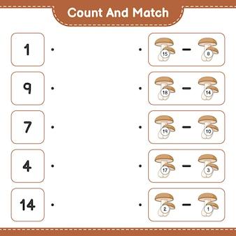 Conta e abbina conta il numero di shiitake e abbina con i numeri giusti