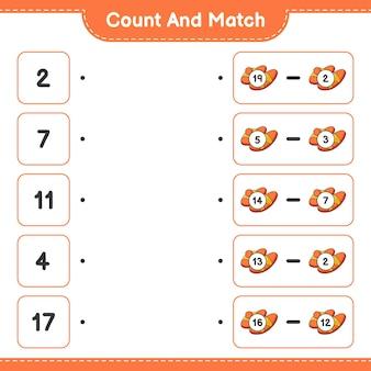 Conta e abbina conta il numero di pantofole e abbina con i numeri giusti