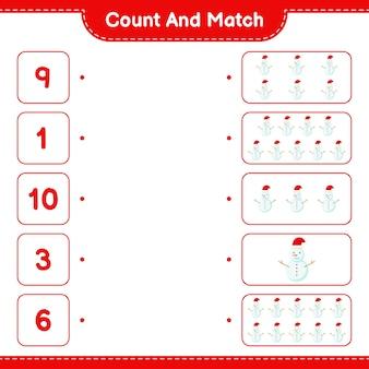 Conta e abbina, conta il numero di pupazzo di neve e abbina i numeri giusti. gioco educativo per bambini