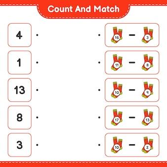 Conta e abbina conta il numero di calzini e abbina con i numeri giusti