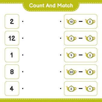 Conta e abbina conta il numero di teiera e abbina con i numeri giusti