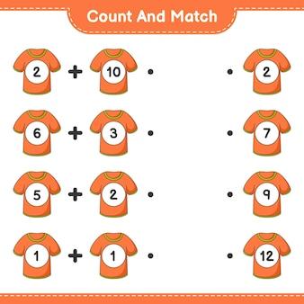 Conta e abbina conta il numero di magliette e abbina con i numeri giusti