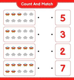 Conta e abbina, conta il numero di ufo e abbina con i numeri giusti.