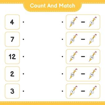 Conta e abbina conta il numero di ombrello e abbina con i numeri giusti
