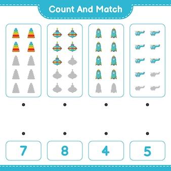 Conta il numero di elicotteri a razzo giocattolo a forma di piramide e abbinali con i numeri giusti