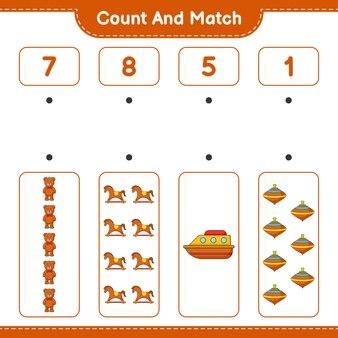 Conta il numero di orsacchiotto cavallo a dondolo barca whirligig giocattolo e abbina con i numeri giusti