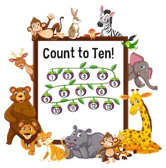 Conta fino a dieci tavole con animali selvatici