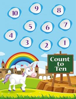 Conta fino a dieci per la scuola materna con sfondo a tema arcobaleno e unicorno
