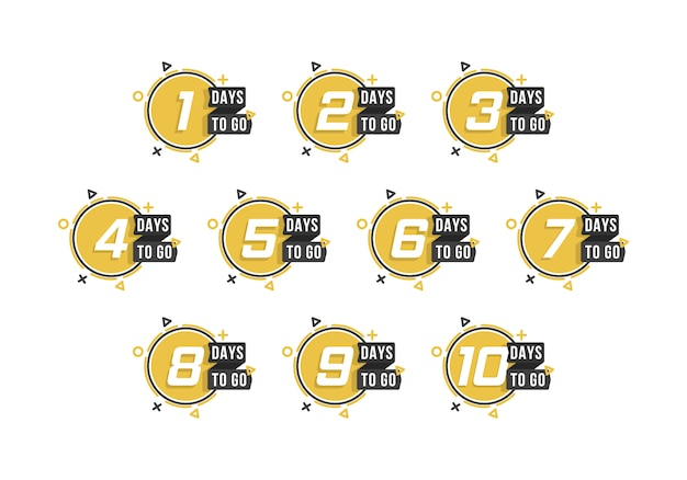 Conto alla rovescia da 1 a 10, giorni per andare l'etichetta o l'emblema possono essere utilizzati per promozione, vendita, pagina di destinazione, modello, interfaccia utente, web, app mobile, poster, banner, volantino. set di numero di giorni rimanenti conto alla rovescia.