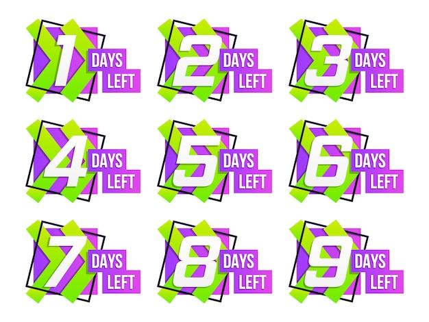 Conto alla rovescia da 1 a 10, etichetta o emblema dei giorni rimanenti. set di conto alla rovescia del tempo rimanente.