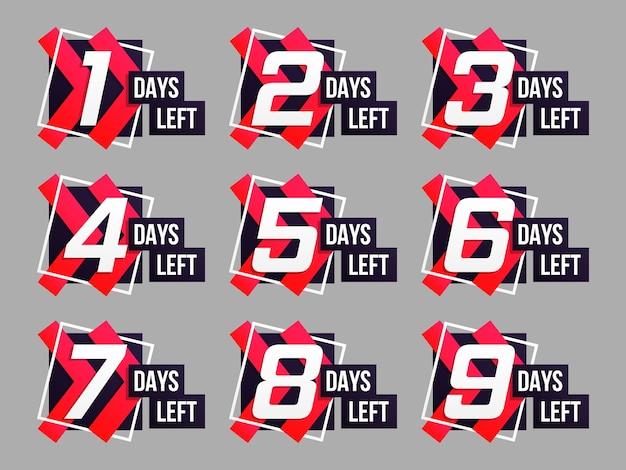 Conto alla rovescia da 1 a 10, logo dei giorni rimanenti. set di conto alla rovescia del tempo rimanente. vettore