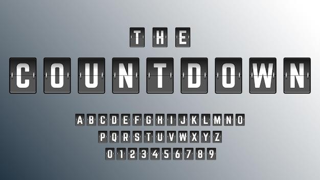 Conto alla rovescia modello di carattere alfabeto.