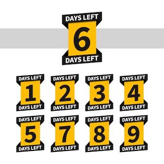 Banner o badge per il conto alla rovescia per la pagina di destinazione. mancano uno, due, tre, quattro, cinque, sei, sette, otto, nove giorni. conta la vendita del tempo. numero 1, 2, 3, 4, 5, 6, 7, 8, 9 di giorni rimasti.