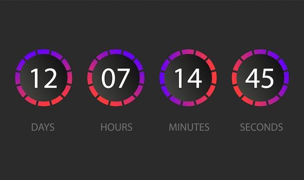 Conto alla rovescia quadro di valutazione del giorno, ora, minuti, secondi. interfaccia utente. illustrazione.