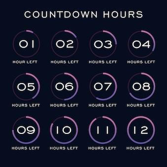 Modello di ore di conto alla rovescia Vettore Premium