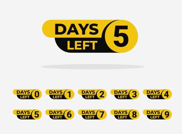 Conto alla rovescia sinistra giorni banner design con il numero nove otto sette sei cinque quattro tre due uno zero giorni.