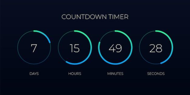 Modello di timer per il conto alla rovescia per sito web e applicazione