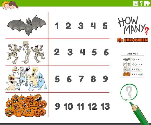 Attività di conteggio per i bambini con i personaggi spettrali delle vacanze di halloween