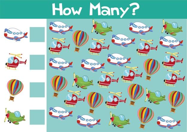 Conteggio del gioco dei mestieri dell'aria illustrazione per bambini in formato vettoriale
