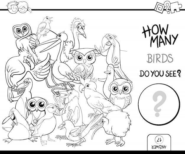 Contando gli uccelli colorando l'attività della pagina