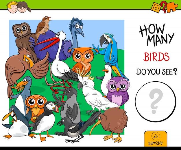 Contando uccelli gioco educativo per bambini