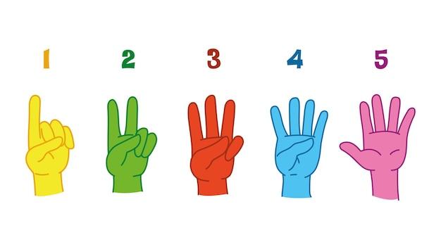 Contando da uno a cinque sulle dita. gesti delle mani per imparare a contare in età prescolare. numeri sulle dita. lancette e numeri multicolori. divertimento di arte piatto isolato di vettore. conteggio delle dita