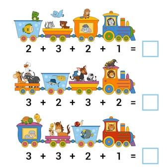 Gioco di conteggio per bambini conta gli animali sul treno e scrivi il risultato compiti per l'addizione