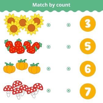 Gioco di conteggio per bambini conta gli oggetti nell'immagine e scegli la risposta giusta oggetti della natura