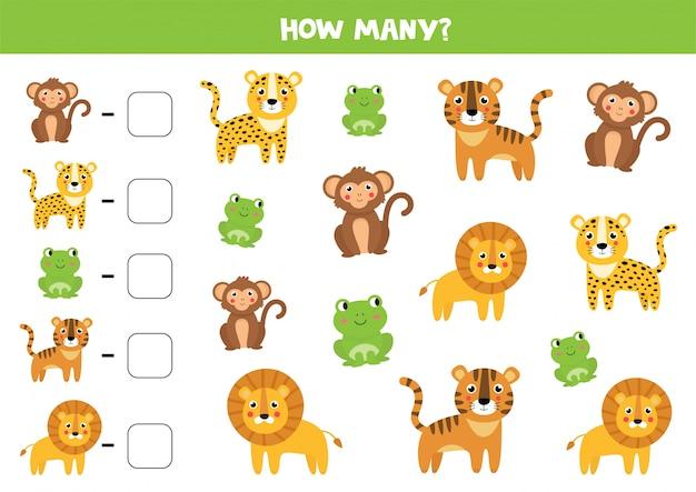 Conteggio del gioco per bambini. simpatici animali della giungla.