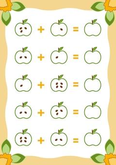 Counting game for children educational un gioco matematico fogli di lavoro aggiuntivi con le mele