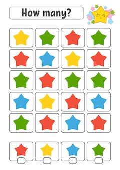 Conteggio del gioco per bambini. personaggi felici. imparare la matematica in stile cartone animato.