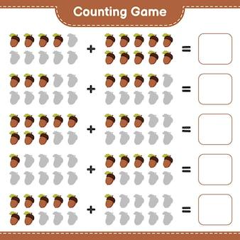 Conteggio del gioco, contare il numero di ghiande e scrivere il risultato. gioco educativo per bambini, foglio di lavoro stampabile