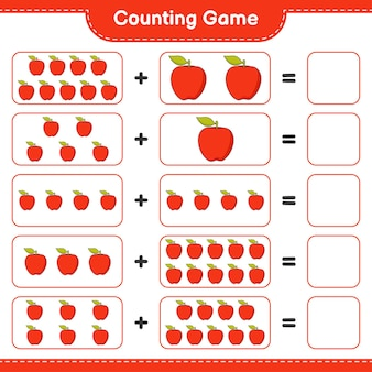 Conteggio del gioco, conta il numero di apple e scrivi il risultato. gioco educativo per bambini, foglio di lavoro stampabile, illustrazione