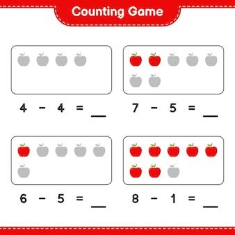 Conteggio del gioco, conta il numero di apple e scrivi il risultato. gioco educativo per bambini, foglio di lavoro stampabile