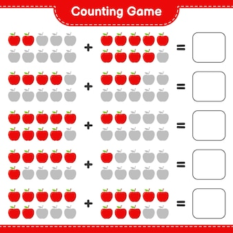 Conteggio del gioco, conta il numero di apple e scrivi il risultato.
