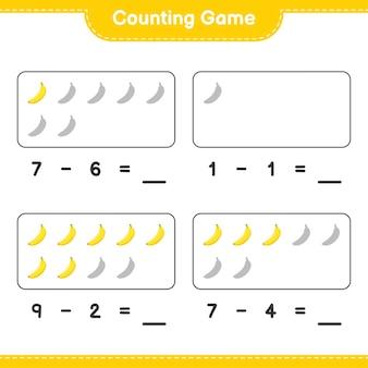 Conteggio del gioco, conta il numero di banana e scrivi il risultato. gioco educativo per bambini, foglio di lavoro stampabile