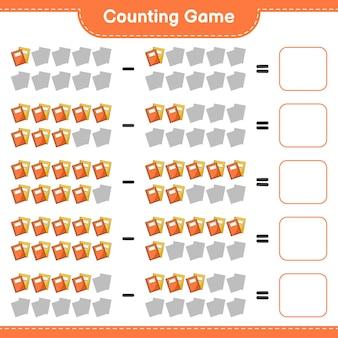 Conteggio del gioco, conta il numero di book e scrivi il risultato. gioco educativo per bambini, foglio di lavoro stampabile