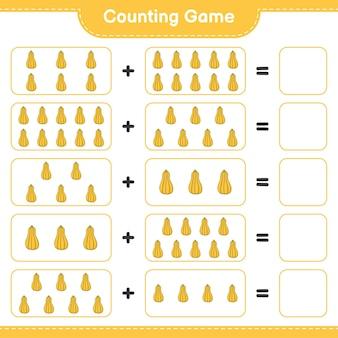 Conta il gioco, conta il numero di zucca e scrivi il risultato. gioco educativo per bambini, foglio di lavoro stampabile, illustrazione
