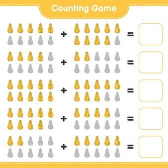 Conteggio del gioco, contare il numero di butternut squash e scrivere il risultato. gioco educativo per bambini, foglio di lavoro stampabile