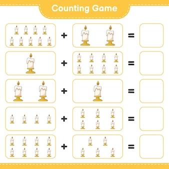 Conteggio del gioco, conta il numero di candele e scrivi il risultato. gioco educativo per bambini, foglio di lavoro stampabile, illustrazione