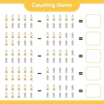 Gioco di conteggio, conta il numero di candela e scrivi il risultato. gioco educativo per bambini, foglio di lavoro stampabile