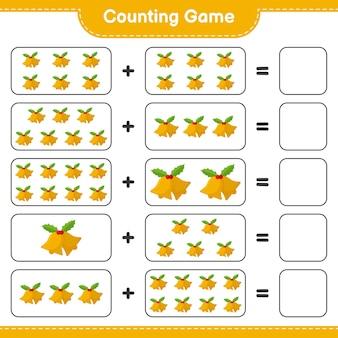 Conta il gioco, conta il numero di campane di natale e scrivi il risultato. gioco educativo per bambini, foglio di lavoro stampabile
