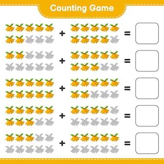 Conta il gioco, conta il numero di campane di natale e scrivi il risultato. gioco educativo per bambini, foglio di lavoro stampabile Vettore Premium