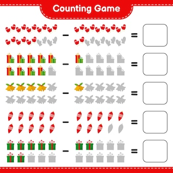 Conteggio del gioco, conta il numero di decorazioni natalizie e scrivi il risultato. gioco educativo per bambini