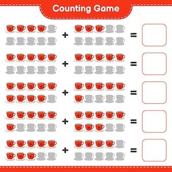 Conteggio del gioco, contare il numero di coffee cup e scrivere il risultato. gioco educativo per bambini, foglio di lavoro stampabile