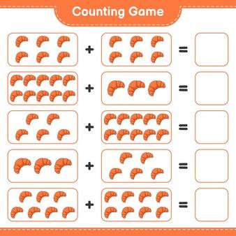 Conta il gioco, conta il numero di croissant e scrivi il risultato. gioco educativo per bambini, foglio di lavoro stampabile, illustrazione